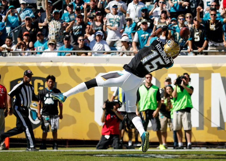 JACKSONVILLE, FL - OCTOBER 26: Allen Robinson #15 of the Jacksonville Jaguars misses a catch in the end zone during the first half of the game against the Miami Dolphins at EverBank Field on October 26, 2014 in Jacksonville, Florida.