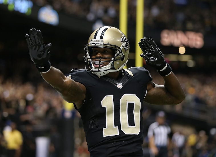 Brandin Cooks celebrates a touchdown in 2015.