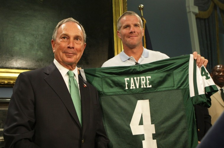 Mike Stobe/Getty ImagesNEW YORK - AUGUST 08: New York City Mayor Michael Bloomberg and Brett Favre pose for a photo during a press conference to Welcome Brett Favre to New York at City Hall on August 8, 2008 in New York City. Favre was traded to the New York Jets from the Green Bay Packers. (Photo by Mike Stobe/Getty Images)