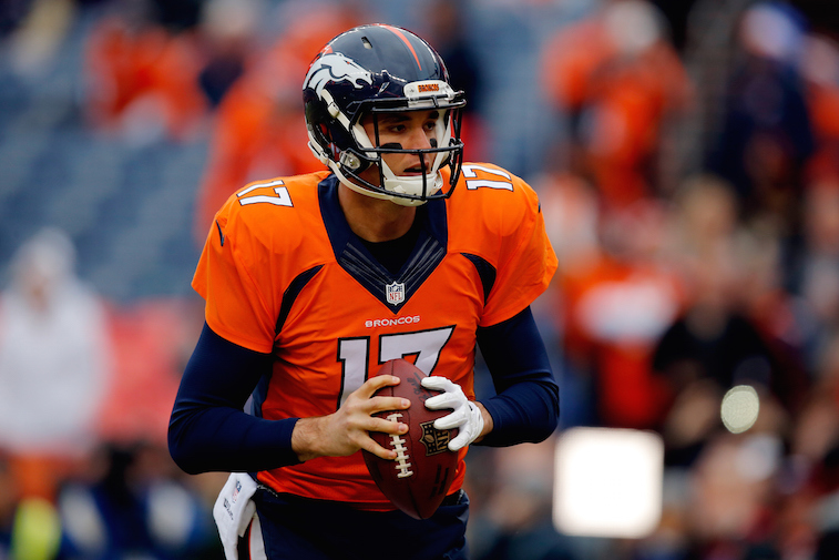 Brock Osweiler #17 of the Denver Broncos warms up prior to a game.