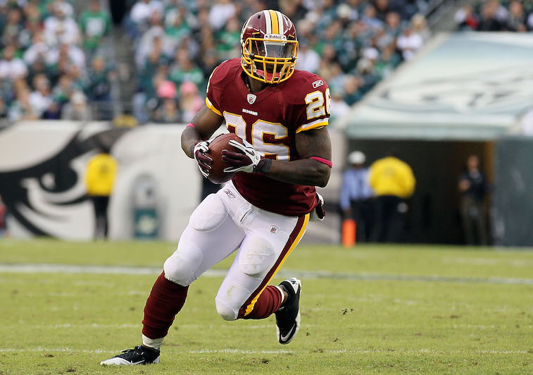 Clinton Portis runs toward the end zone.