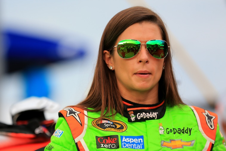 Danica Patrick takes part in pre-race ceremonies for the NASCAR Sprint Cup Series Quaker State 400