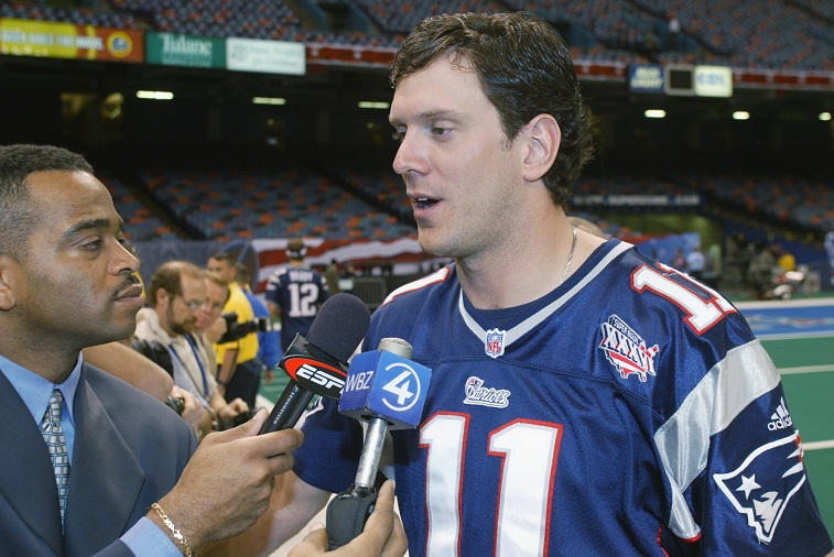 Drew Bledsoe speaks to the media.