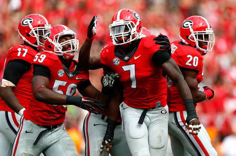 Georgia Bulldogs celebrate against Tennessee
