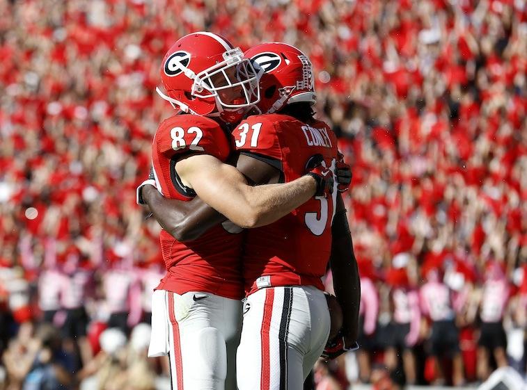 Georgia Bulldogs celebrate after a touchdown