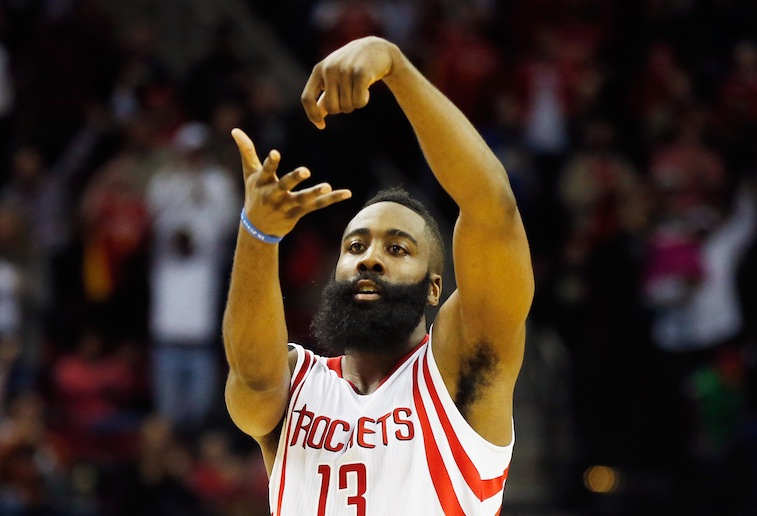 James Harden celebrates a basketball against the Nets