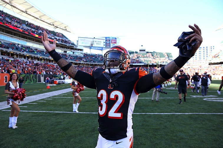 CINCINNATI, OH - OCTOBER 26 : Jeremy Hill #32 of the Cincinnati Bengals celebrates as he walks off of the field after defeating the Baltimore Ravens 27-24 at Paul Brown Stadium on October 26, 2014 in Cincinnati, Ohio.