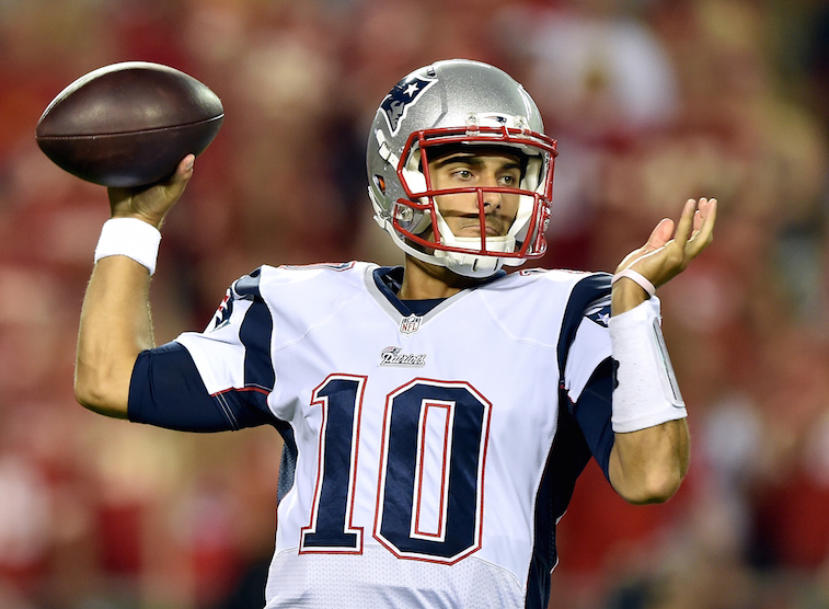 Jimmy Garoppolo is a trade candidate for the New England Patriots | Peter Aiken/Getty Images