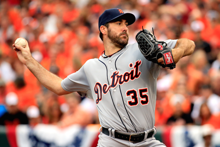 Rob Carr/Getty ImagesJustin Verlander pitches during Game Two of the American League Division Series at Oriole Park at Camden Yards on October 3, 2014 in Baltimore, Maryland.