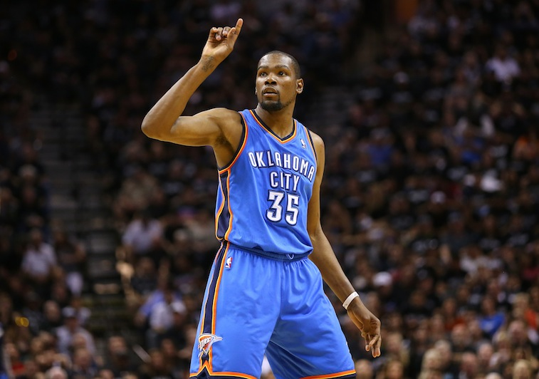 Kevin Durant reacts to a play against the Spurs