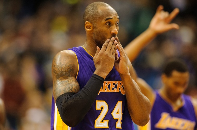 Kobe Bryant reacts to a call