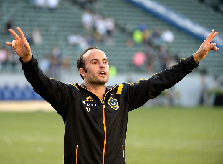 LOS ANGELES, CA - MAY 25:  Landon Donovan #10 of Los Angeles Galaxy reacts to his supporters after a 4-1 win over the Philadelphia Union at StubHub Center on May 25, 2014 in Los Angeles, California.
