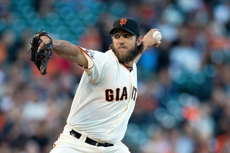 Madison Bumgarner of the San Francisco Giants delivers a pitch