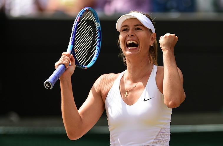 Maria Sharapova celebrates during Wimbledon