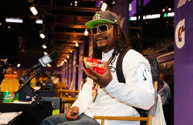 Christian Petersen/Getty ImagesPHOENIX, AZ - JANUARY 27: Marshawn Lynch #24 of the Seattle Seahawks eats Skittles as he addresses the media at Super Bowl XLIX Media Day Fueled by Gatorade inside U.S. Airways Center on January 27, 2015 in Phoenix, Arizona. (Photo by Christian Petersen/Getty Images)