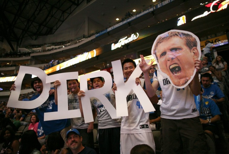 Dallas Mavericks fans show their support for Dirk Nowitzki