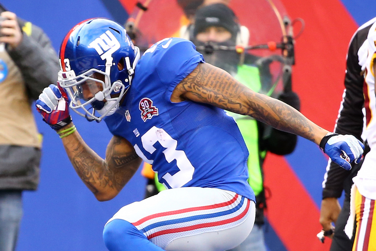 Odell Beckham Jr. celebrates a touchdown.