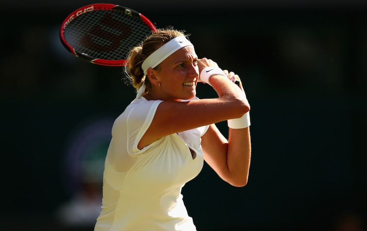Petra Kvitova plays during 2015 Wimbledon