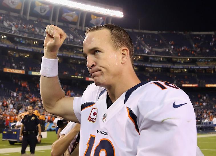Peyton Manning celebrates a victory