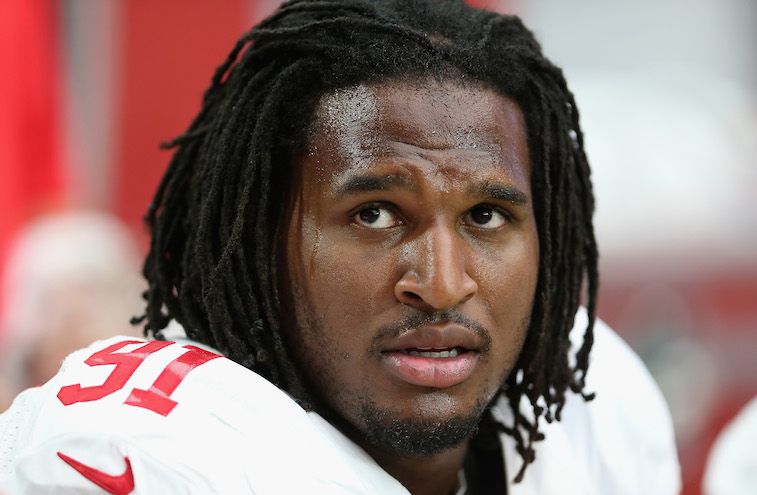 Ray McDonald looks on in a game against the Cardinals