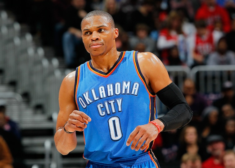 Russell Westbrook in a game against the Hawks