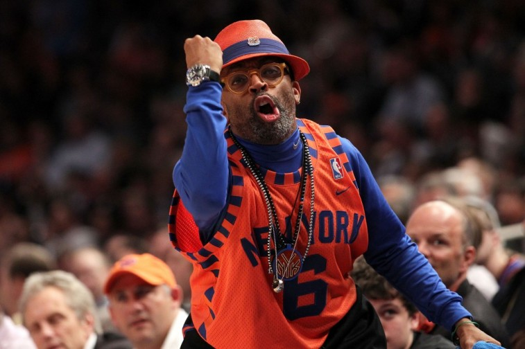 Spike Lee cheers on the New York Knicks