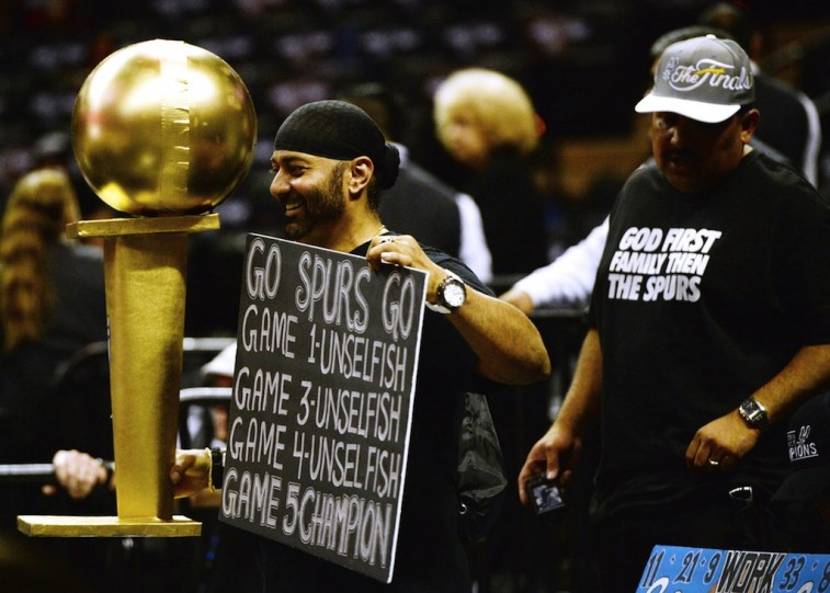 San Antonio Spurs fans cheer on their team