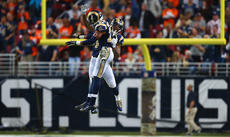 Dilip Vishwanat/Getty ImagesST. LOUIS, MO - NOVEMBER 16: Trumaine Johnson #22 of the St. Louis Rams and T.J. McDonald #25 of the St. Louis Rams celebrate after a turnover in the fourth quarter against the Denver Broncos at the Edward Jones Dome on November 16, 2014 in St. Louis, Missouri. The Rams beat the Broncos 22-7.
