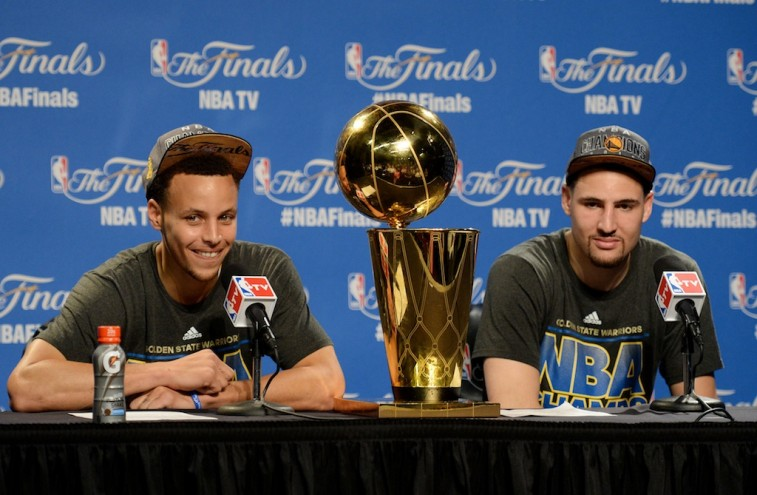 Stephen Curry and Klay Thompson address the media after winning the NBA championship