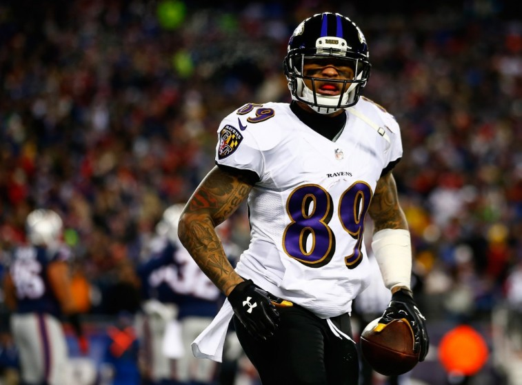 Steve Smith celebrates in Divisional Playoff against the Patriots