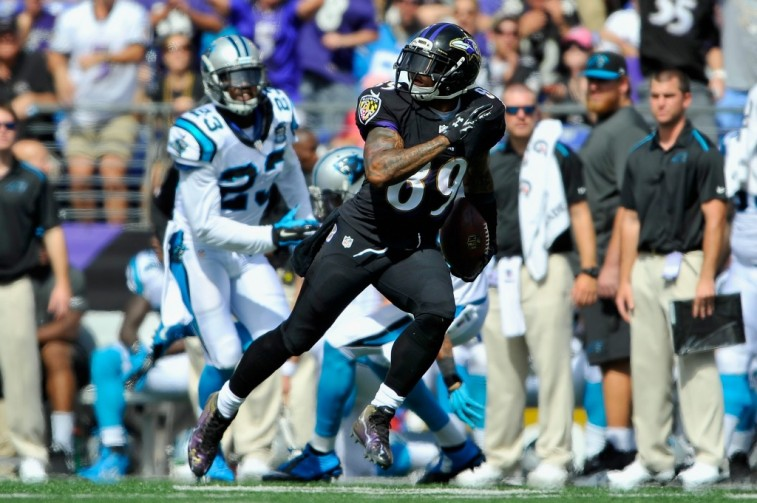 Steve Smith scores a touchdown against the Carolina Panthers