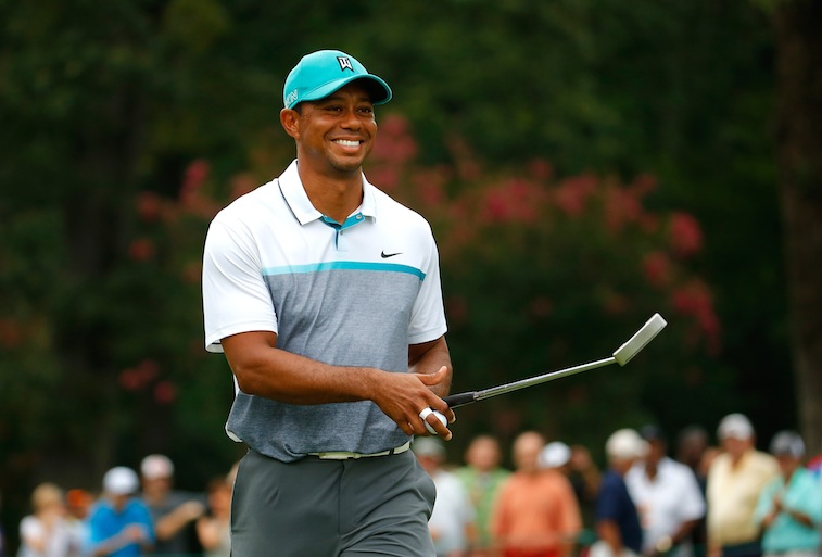 Tiger Woods reacts during the first round of the Wyndham Championship