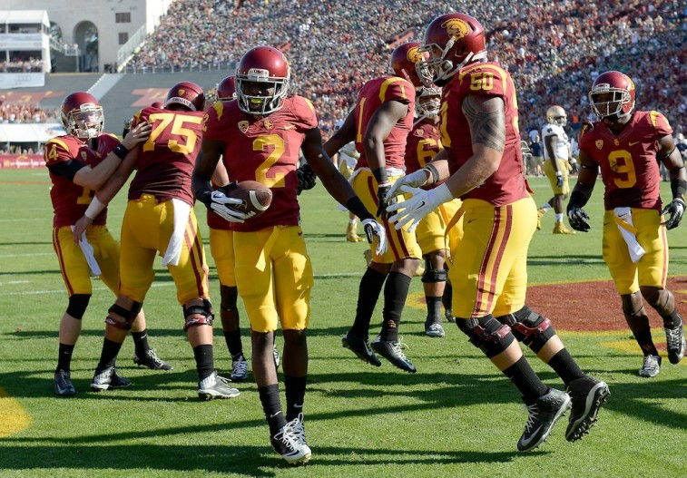 USC Trojans celebrate a score against Notre Dame