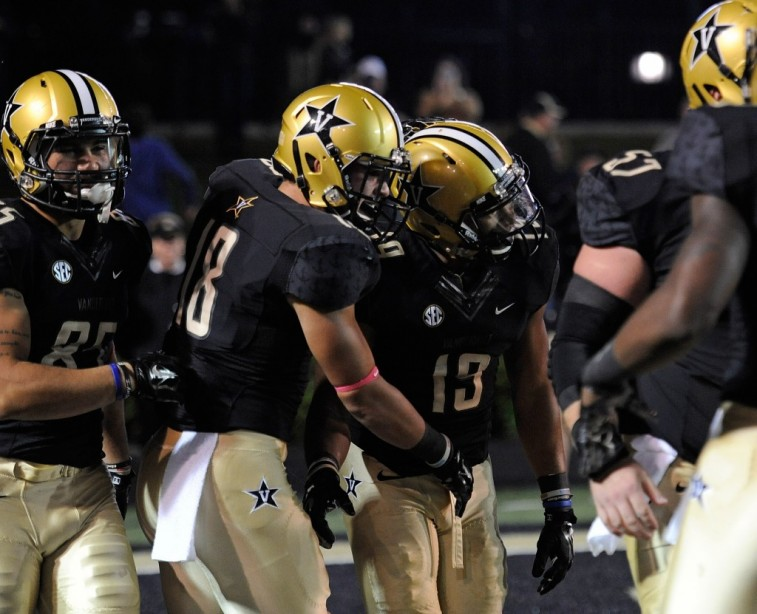 Vanderbilt Commodores celebrate a touchdown