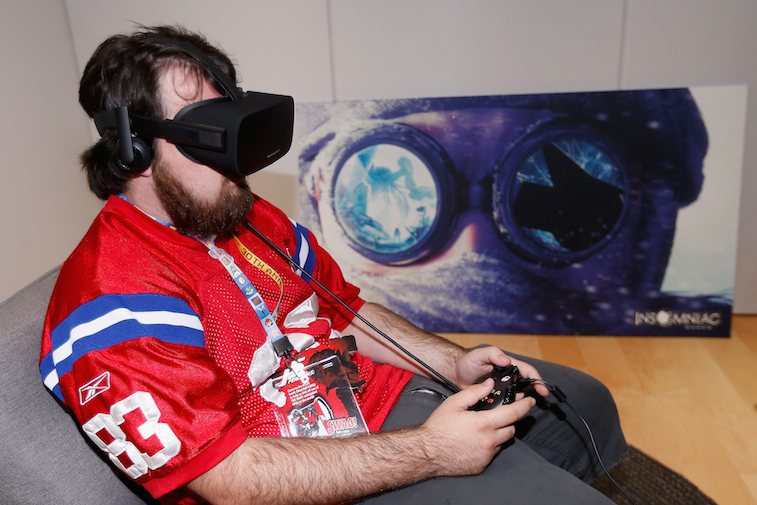 Game enthusiast, Jacob Mix, tests out the virtual reality head-mounted display Oculus Rift CV1
