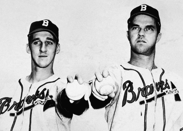 Boston Braves pitchers Warren Spahn (L) and Johnny Sain (R)