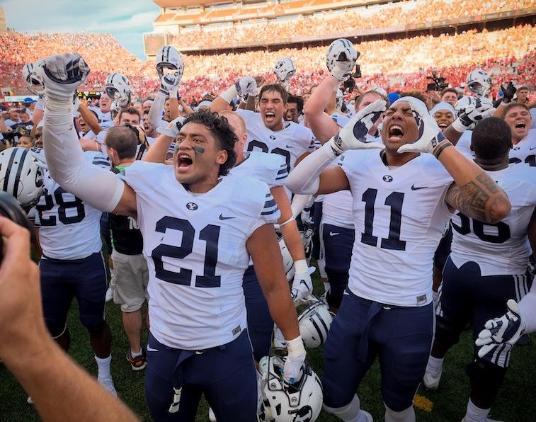 BYU Cougars celebrate victory over Nebraska