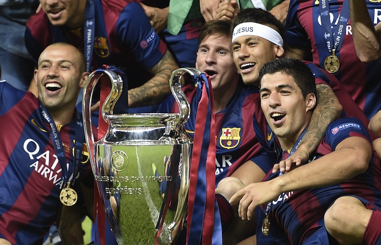FC Barcelona celebrates its Champions League victory