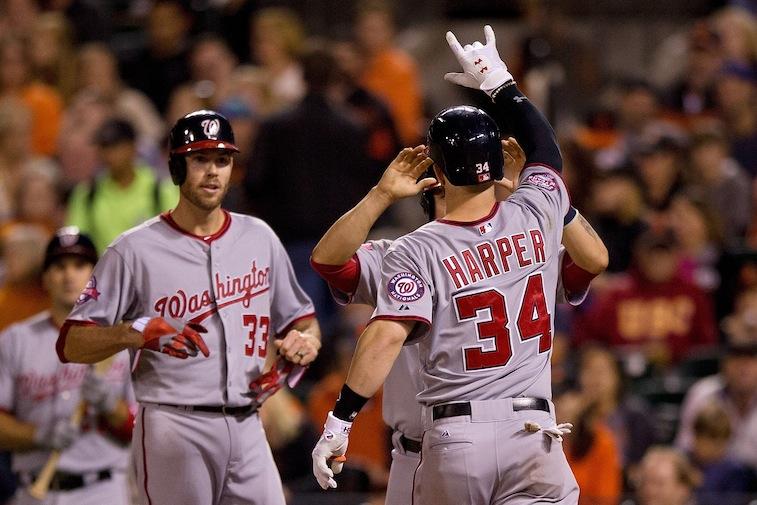 Bryce Harper celebrates a home run