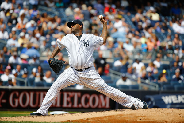 CC Sabathia pitches for the Yankees.