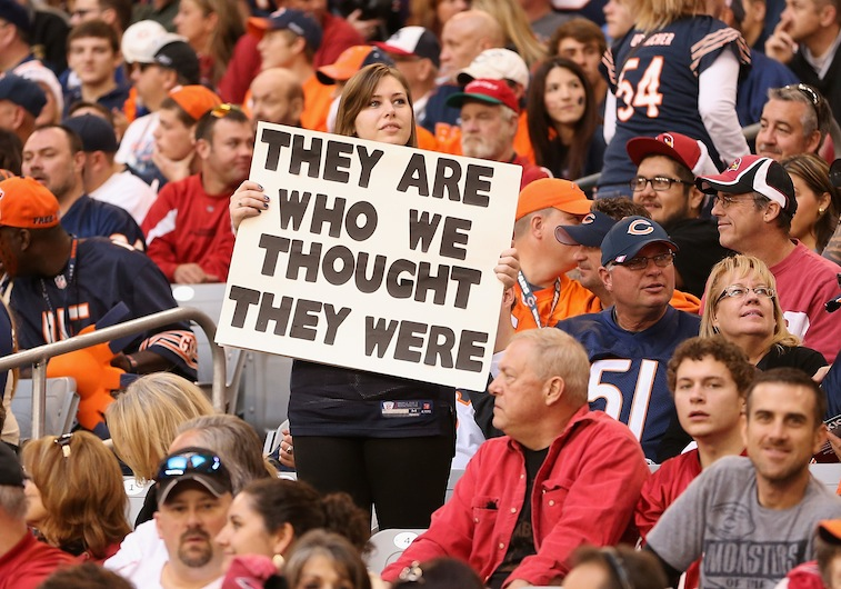 Chicago Bears fan holds up a classic sign during a game against the Arizona Cardinals