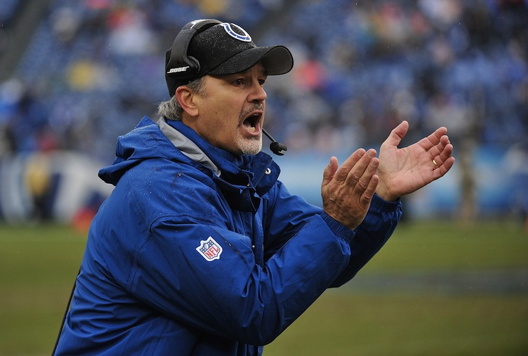 Colts coach Chuck Pagano cheers for his team