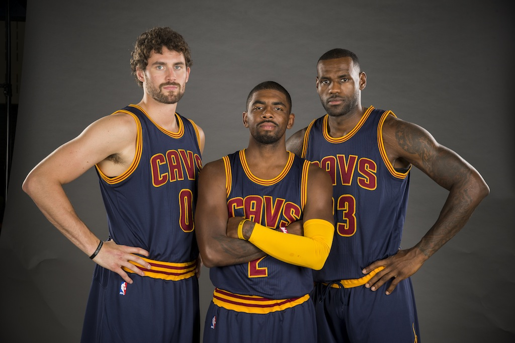 CLEVELAND, OH - SEPTEMBER 28: Kevin Love #0 Kyrie Irving #2 and LeBron James #23 of the Cleveland Cavaliers during the Cleveland Cavaliers media day at Cleveland Clinic Courts on September 28, 2015 in Independence, Ohio. (Photo by Jason Miller/Getty Images)