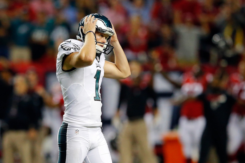 Cody Parkey reacts to a missed field goal