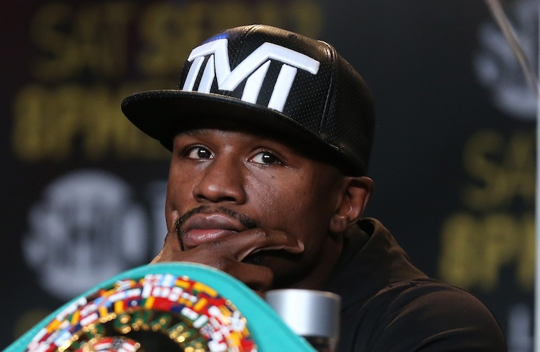 Floyd Mayweather during the press conference for the Berto fight