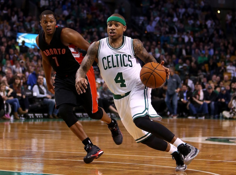 Isaiah Thomas dribbles to the basket