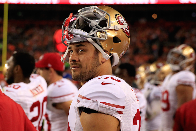 Jarryd Hayne on the sidelines during a preseason game between the 49ers and Broncos