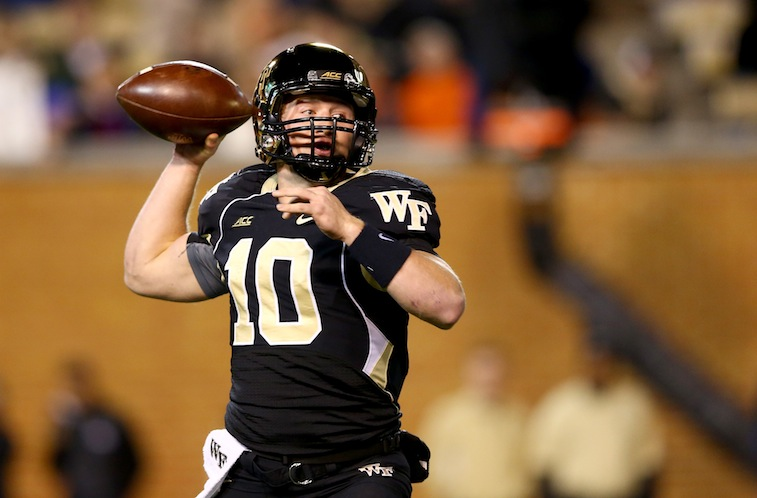 John Wolford throws against Clemson in 2014