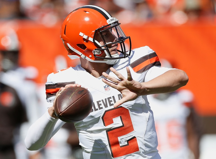 Johnny Manziel throws against the Titans