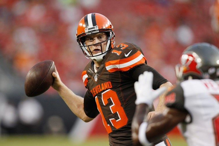 TAMPA, FL - AUGUST 28: Quarterback Josh McCown #13 of the Cleveland Browns throws the ball during the first quarter of the preseason game between the Tampa Bay Buccaneers and the Cleveland at Raymond James Stadium on August 28, 2015 in Tampa, Florida.